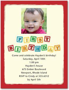 Birthday Blocks - Studio Basics: Photo Birthday Party Invitations in Siren | Tiny Prints Studio Basics