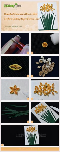 Pandahall Tutorial on How to Make a Yellow Quilling Paper Flower Card