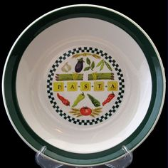 "So Fun! Boston Warehouse Large Pasta serving bowl with ""PASTA"" and vegetables on image with green checks in center. 