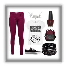 """red"" by lea-fashionista ❤ liked on Polyvore featuring Great Plains, Replay, Cheap Monday, Converse, Victoria's Secret and OPI"