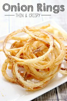 These Thin and Crispy Onion Rings are perfect for burgers, as a side dish or eat them for a snack! You might want to double the recipe though - they're addicting! You have to wonder how something so simple can be so good?! #onionrings #sidedish #snacks