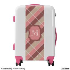 Pink Plaid Personalized Luggage