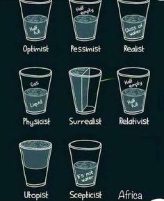Half Glass of Er Half Optimist Pessimist Realist Half Empty Half Physicist Surrealist Relativist Water Utopist Scepticist Nihilist Funny Quotes, Funny Memes, Art Quotes, Funny Sarcasm, Funniest Memes, Physicist, Pint Glass, Water Glass, Empty