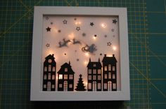 Miriam's website Lichtlijstje maken Christmas Store, Christmas Paper, Christmas Holidays, Xmas, Homemade Christmas Decorations, Holiday Crafts, Silhouette Cameo, Shadow Box Art, Lighted Canvas