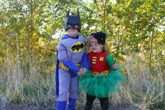 Batman and Robin, siblings Halloween costume!