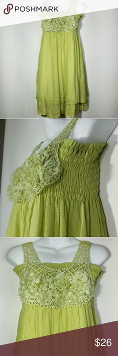 "Pretty Angel Linen Blend Dress Lime Green Sz S Pretty Angel Silk Blend Tank Party Dress Lime Green Summer Cocktail Floral Ribbon NWT   Flat Lay Measurements Unstretched  Underarm to underarm: 17""  Length: 34""   Comes from a smoke and pet free home!  Pretty Angel Dresses"