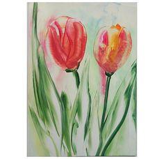 Garden Tulips Spring Flowers Original Encaustic ARt by ArtInWax, $12.00