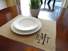 Set of 4 - Initial monogrammed burlap placemats - SET OF  4 by onthetabledesigns on Etsy https://www.etsy.com/listing/201253321/set-of-4-initial-monogrammed-burlap
