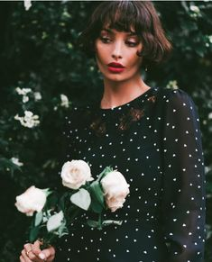 The Kooples - Dame de Coeur micro-printed black dress - WOMEN Style Rock, Look Rock, Cut And Style, Dreamy Photography, Still Photography, Short Hair Outfits, French Bob, Taylor Lashae, Paris Chic