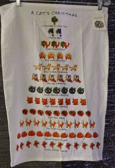 """For that hard to shop for Cat Lover.... A Cat's 12 Days of Christmas cotton Kitchen Towel Tablecover Wall hanging 25x17""""   $15"""