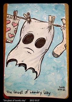 """""""The ghost of laundry day"""" (Tiny watercolour)"""