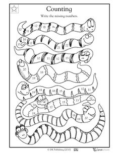 1st grade, Kindergarten Math Worksheets: Sneaky snakes
