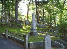 Authors Ridge in Concord Massachusetts - resting place of Henry David Thoreau, Ralph Waldo Emerson, Louisa May Alcott, and Nathaniel Hawthorne
