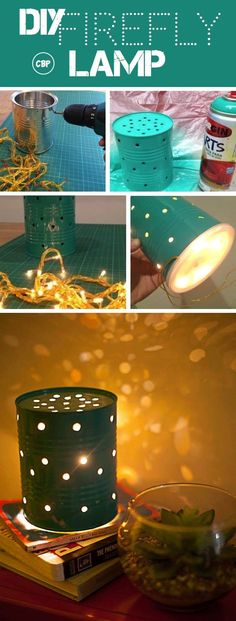 DIY Firefly Lamp is a craft tutorial in which a tin can has drilled holes, is painted, and is illuminated by a strand of lights to give a firefly effect.