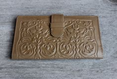 Tooled Genuine Leather Bifold Wallet  Vintage Russian Wallet