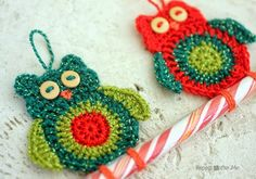 Crochet Owl Candy Cane Ornaments - Repeat Crafter Me...really cute!!...free pattern!