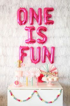 Project Nursery - One is Fun First Birthday Party - this is so much fun, and oh so bright. Great inspiration for Sweet Pea's nursery!