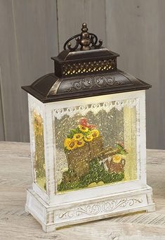 Amazon.com: A-Lan Garden Friends Lighted Water Lantern with Timer, Battery Operated, 10.8 Inches High (Pink, Green, Yellow): Home & Kitchen Photo Snow Globes, Water Effect, Christmas Snow Globes, Purple Garden, Water Lighting, Xmas Tree, Battery Operated, Entryway Decor, Light Up
