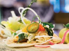 Bannock's signature spicy fish tacos from Chef Miheer Shete. Q: The grilled pickerel bannaco at Bannock was the best fish taco I've ever had! Can you get me the recipe? A: The secret to these tacos is a mix of cultural influences: Canadian pickerel plus exotic Thai flavors on a First Nations flatbread — the restaurant's namesake bannock.