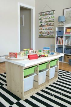 This train table using the IKEA TROFAST is a great IKEA toy storage hack. Via the crazy craft lady