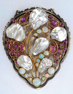 Pendant by Karl Rothmuller, Circa 1910. Silver, rubies, opals, pearl. Located in Bayerisches Nationalmuseum, Munich, Germany