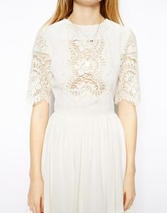 Enlarge ASOS Pretty Skater Dress With Lace Panels