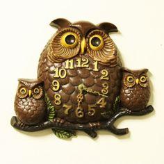 Vintage owl clock - ceramic - wall clock - arnels - 1974 via Etsy