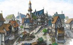 ArtStation - middle ages town, Bong bong