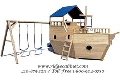 Small Wood Playground Boat with Swing Set