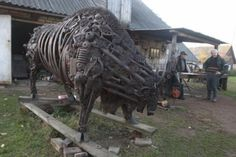 Car parts bison sculpture by Roman Beybutyan.