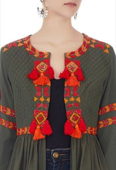 Buy Khaki green tassel front open jacket by Surily G at Aza Fashions - Pakistani dresses Hand Embroidery Dress, Kurti Embroidery Design, Embroidery Suits, Afghan Clothes, Afghan Dresses, Dress Neck Designs, Stylish Dress Designs, Mode Abaya, Mode Hijab