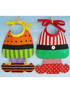Sewing - Holiday & Seasonal Patterns - Halloween Patterns - Witch & Elf Baby Bibs