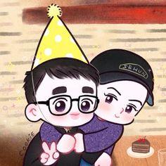 Sehun, Kpop Exo, Exo Cartoon, Chibi, Exo Anime, Exo Lockscreen, Exo Fan Art, Artist Logo, Xiuchen