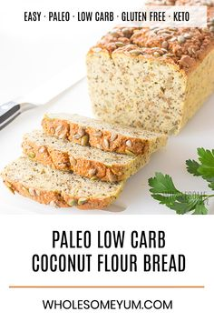 Keto Low Carb Paleo Coconut Flour Bread Recipe - A low carb coconut flour bread recipe packed with seeds, for a delicious multi-grain taste without nuts or grains! Keto paleo bread made with coconut flour is perfect for sandwiches. Egg And Bread Recipes, Coconut Recipes, Healthy Recipes, Easy Cake Recipes, Low Carb Recipes, Tofu Recipes, Sweets Recipes, Dinner Recipes, Desserts