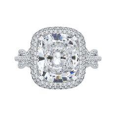 18K White Gold 1 Ct Diamond Carizza Boutique Semi Mount Engagement Ring fit Cushion Center - Mia Carizza