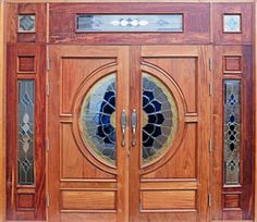 Add some mosaic magic to your front door with a grand inlaid entry doorway. Front Door Design Wood, Double Door Design, Custom Wood Doors, Wooden Doors, Indian Doors, Double Entry Doors, Door Entryway, Contemporary Doors, Wooden Door Hangers