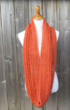 ORANGE INFINITY SCARF Fashion Scarf Crochet Fall by marianavail, $18.99