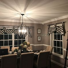 Buffalo check tab flounce valance in black,panel and pillow Dining Room Remodel, Farmhouse Kitchen Decor, Farm House Living Room, Check Curtains, Decorative Curtain Rods, Buffalo Check, Black And White Valance, Valance, Paneling