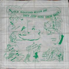 Vintage 50s golf hanky golfing humor by sweetalicelovesyou on Etsy