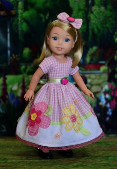 """""""Spring Pastels"""" Dress Outfit for American Girl Wellie Wishers, Hearts 4 Hearts #LuminariaDesigns"""