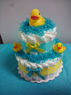 DUCK diaper cake and matching cupcakes baby shower