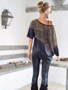Sequin Asymmetric Top Blouse with Black Leather Details /
