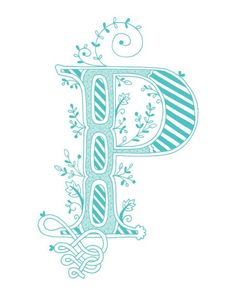 Hand drawn monogrammed print 8x10 the Letter P in by jenskelley, $15.00