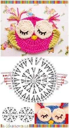 "Diy Crafts - Animais em crochê ""☆ ★ ✭ Aplique de Crochê Bichos - / ☆ ★ ✭ Apply by Crochet Critters -"", ""Wonderful applikashki from les frotte Diy Crochet Owl, Crochet Owl Applique, Marque-pages Au Crochet, Crochet Motifs, Crochet Diagram, Crochet Gifts, Crochet Animals, Crochet Flowers, Crochet Stitches"