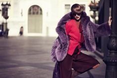 Dyed Purple Fox Fur Jacket
