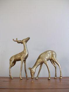 vintage brass deer decor