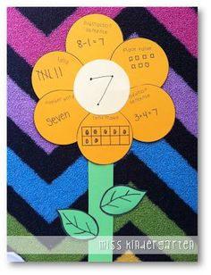 Petals on a math flower showing various ways to represent a number.  Great first day project.
