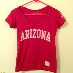 University of Arizona top V-neck shirt with Arizona A on left shoulder. 100% cotton. Perfect for game day! Retro Brand  Tops Tees - Short Sleeve