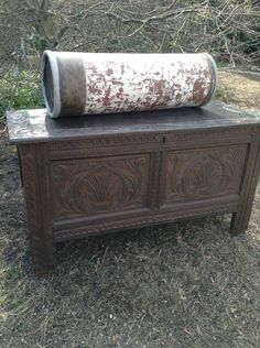 Antique English Coffer Chest - Coffer Blanket Chest - Coffee Table - Jacobean Trunk Chest  - Antique 17th Century Carved Coffer Trunk by DareToBeVintage on Etsy