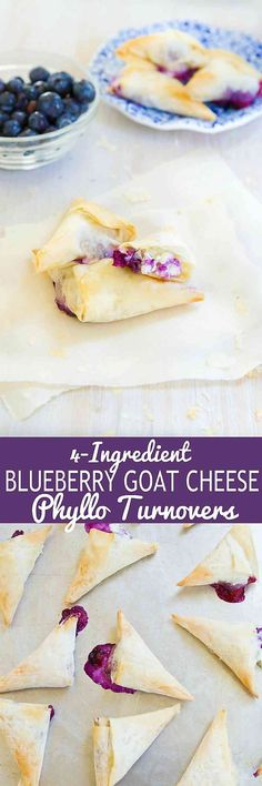 These 4-ingredients blueberry goat cheese phyllo turnovers make the most irresistibly flaky and delicious desserts or appetizers.